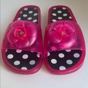 Kate Spade Pink Polka Dot Pool Slides Size 9